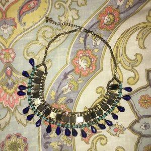 Navy, Teal & Brass Statement Necklace